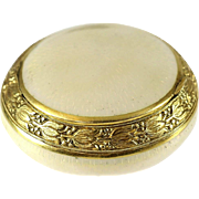 Italian 18k Gold & Guilloche Enamel Snuff Box, circa 1920. Hand Chased Floral Rim