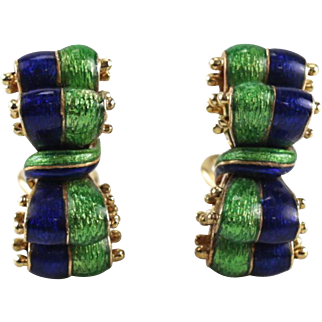 Tiffany & Co 18 Karat Gold & Enamel Ribbon Clip Earrings circa 1970, 21.8 grams
