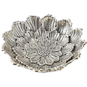 Buccellati Italian Sterling Silver Nut Dish Bowl, Repousse Dahlia Flower Medium