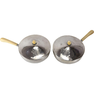 Pair Evald Nielsen Denmark Silver Ecuelle with Lid & Handle, 1933. Engraved Armorial Crest Assay mark of Simon Groth