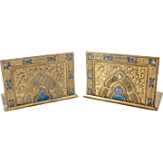 Louis C. Tiffany Favrile Furnaces Gilt Bronze Gothic Style Bookends in Corona, circa 1900