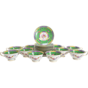 10 Spode Copeland Retailed by Tiffany & Co Hand Painted Cup & Saucers, circa 1890