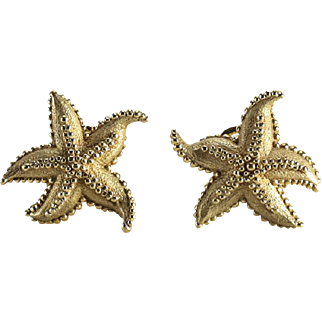 Large Tiffany & Co 18 Karat Gold Starfish Earrings with Beaded Texture