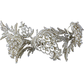 Large 19th Century Victorian Natural Seed Pearl Foliate Trembler Pin / Brooch