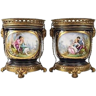 19th Century Pair of Sevres Style Bronze Mounted Porcelain Cache Pots
