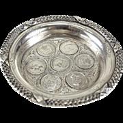 Exceptional Porto Portuguese Coin Silver Wine Coaster Dish, circa 1910