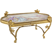 Sevres French Hand Painted Porcelain Miniature Table Plaque, circa 1900. Signed