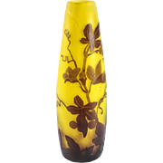 Emile Galle Art Glass Cameo Etched Vase, Amethyst over Yellow circa 1900