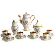 French Empire Style Porcelain Coffee Service for Six, 19th Century