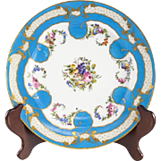 Sevres Porcelain Cabinet Plate, Hand Painted Florals & Fruits, circa 1900