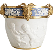 Large 19th Century France Sevres Style  Porcelain Jardiniere Cherub Ram Head Cache Pot