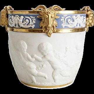Large 19th Century France Sevres Style  Porcelain Jardiniere Cherub Ram Head Cache Pot