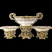 Sevres Style Louis Philippe Gilt Bronze Mounted Centerpiece Table Garniture, circa 1850