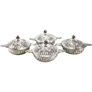 Four German 800 Silver Lidded Soup Bouillons Ecuelles by Friedrich Reusswig, circa 1910