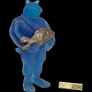 """Daum France Pate De Verre Glass & Bronze Sculpture, """"Illes De Kepvers"""" Signed"""
