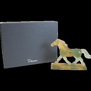 Charming Daum Nancy Art Glass Pate De Verre Horse Sculpture, Signed. Orig. Box