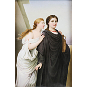 Continental Hand Painted Porcelain Plaque of Antigone & Simone, 19th Century