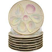 Eight Iridescent Blush Porcelain Oyster Plates by Royal Worcester, 1887