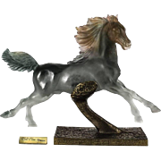 Limited Edition Pate De Verre Sculpture of a Horse on Bronze by Daum