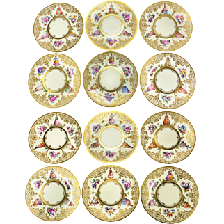 12 Dresden Hand-Painted Dinner Plates by Ambrosius Lamm