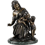 French Bronze Figural Group Sculpture of Egyptian Woman by Francois Moreau