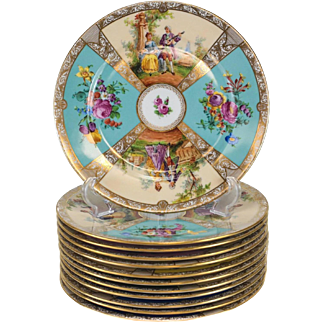 12 Dresden Porcelain Hand-Painted Cabinet Plates by Ambrosius Lamm