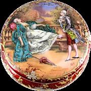 French Gilt Bronze & Enamel Hand Painted Powder Vanity Box Jar, circa 1900