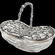 William Comyns London Sterling Silver Mounted Pot Pourri Basket #750, 1908
