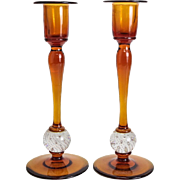 Pair Amber Art Glass Candlesticks, Controlled Bubbles, circa 1950