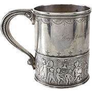 Tiffany & Co. Sterling Silver Child's Cup, circa 1875. Hand Chased Marching Band