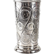 J. Wagner & Sohn 800 German Silver Vase 21 Coins, Hand Hammered Texture, 1897