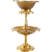 Continental Gilt Silver & Agate Mounted Tazza with Garnets, circa 1920