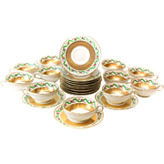 12 Minton for Tiffany & Co Demitasse Gilt Porcelain Cup & Saucers, c. 1900