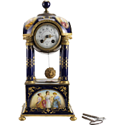 Royal Vienna Style Hand Painted Porcelain & Bronze Mantel Clock, 19th Century