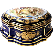Sevres Style Porcelain Gilt & Hand Painted Courting Scene Table Dresser Box, 19th Century