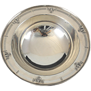 Domincik & Haff Sterling Silver Footed Bowl A40-52, circa 1920. Repousse Wreath Design