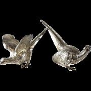 Pair Edward Barnard & Sons Ltd London Sterling Silver Figurines, Fighting Cockerels, 1973