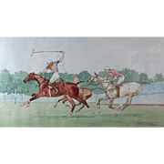 "Paul Desmond Brown (20th C) Watercolor Equestrian Polo Painting ""Down The Field"""