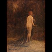 Allan Douglas Davidson (British, 1873-1932) Oil on Board Painting of Nude Woman