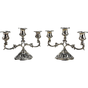 Pair Continental 800 Silver 3-Light Candelabras, Hand Chased Floral Swags