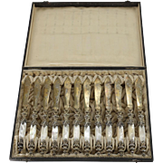 12 piece Bruckmann & Sohne German 800 Silver & Mother of Pearl Fish Knives, circa 1900