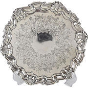 Martin, Hill, & Co London Sterling Silver Hand Chased Salver Tray #5465, 1898