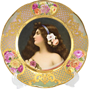 Royal Vienna Style Hand Painted Cabinet Plate of a Beauty, circa 1900. Signed Wagner