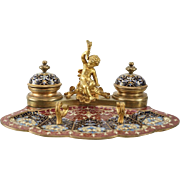 French Champleve Enamel Gilt Bronze Inkwell & Pen Rest Desk Set, circa 1900