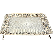 S. Kirk & Son Coin Silver Square Tray in Repousse circa 1890. Raised Floral Design