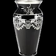 Art-Deco Style Rockwell Sterling Silver Overlay Black Art Glass Vase Foliate Scrolls