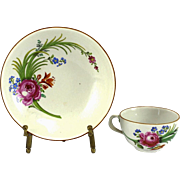 Meissen (Marcolini) Hand Painted Porcelain Cup & Saucer, circa 1800