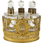 5 Piece Continental Crystal Glass & Gilt Bronze Perfume Vanity Set & Bronze Caddy, circa 1900
