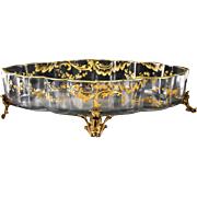 French Art Glass Gilt Bronze Footed Centerpiece Bowl, 19th Century. Possibly Baccarat