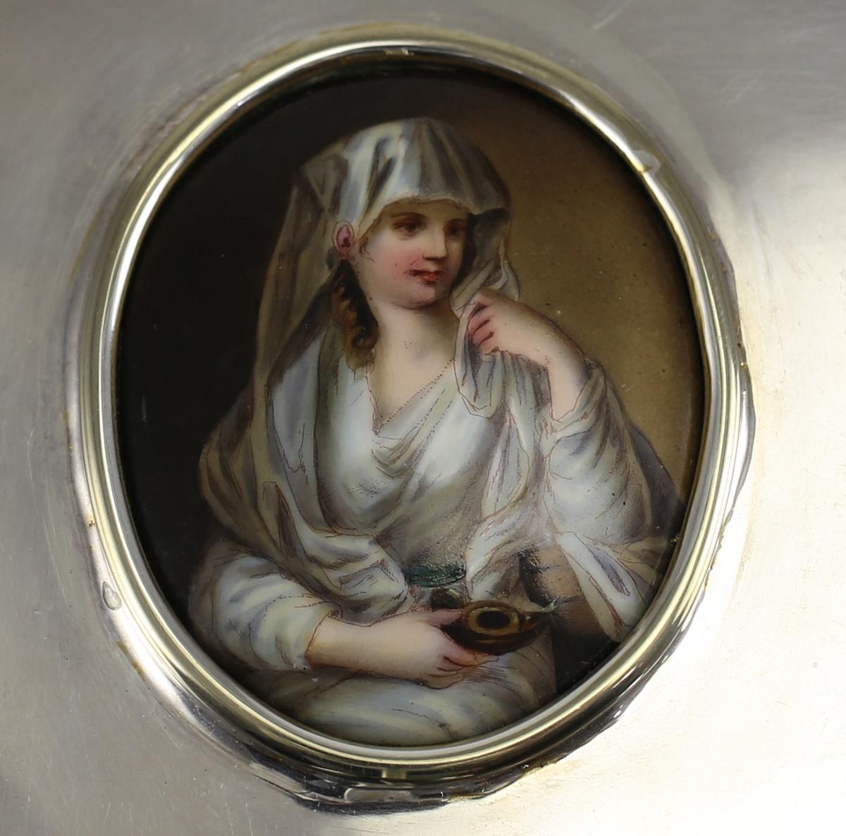 Tiffany Amp Co Sterling Silver Box With Porcelain Portrait